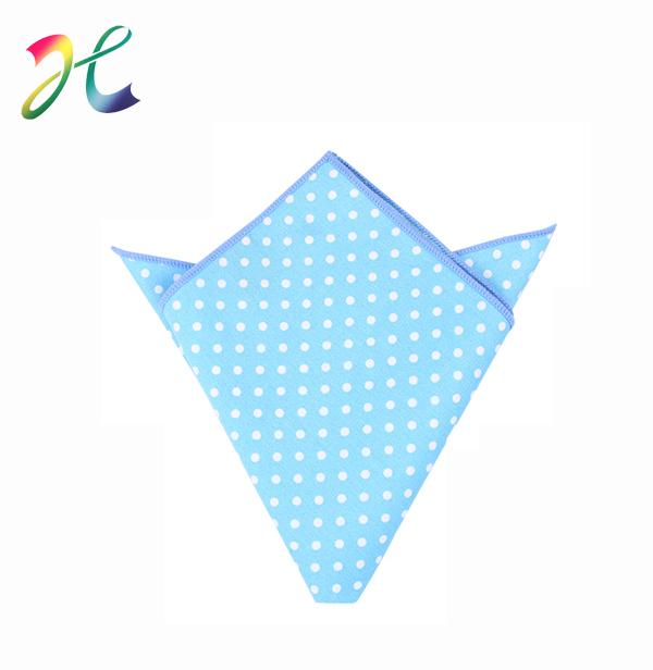 蓝色圆点方巾 纯棉方巾定制 定制方巾