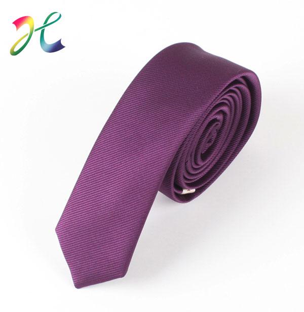 韩版纯色涤丝窄领带