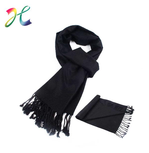 男士时尚黑色围巾纯色围巾定制定做