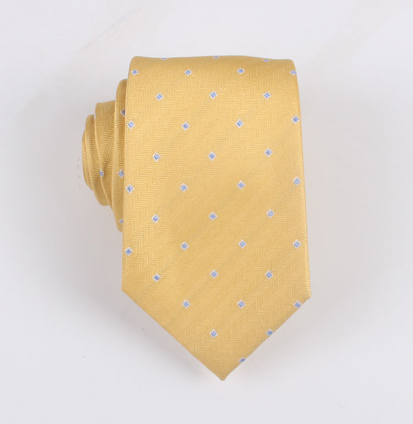 黄色方格波点领带