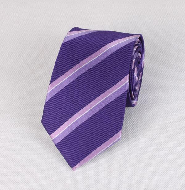 时尚三色涤丝条纹领带
